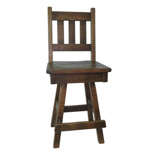 Swivel Barn Wood Bar Stool w/ Slat Back