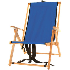 The portable Backpack Chair in atlantic blue