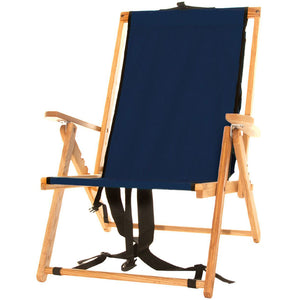 The portable Backpack Chair in navy blue