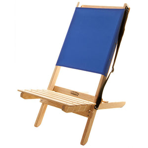 The Blue Ridge foldable Chair with strap in atlantic blue