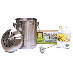 Stainless Steel Compost Wizard 3 Quart Pail Starter Kit with coco fiber, compost booster, and thermometer