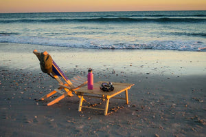 The short and portable Carolina Snack Table used at the beach