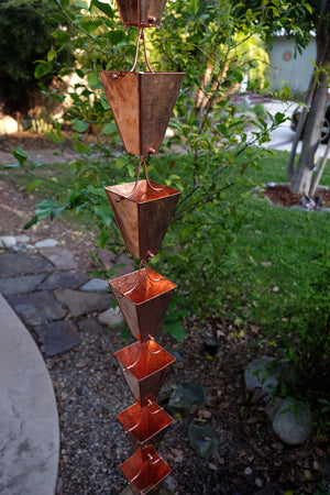 Full length image of Large Tapered Cup style rain chain in Copper