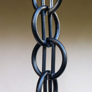 Close up of black Cast Zen Loops Rain Chain