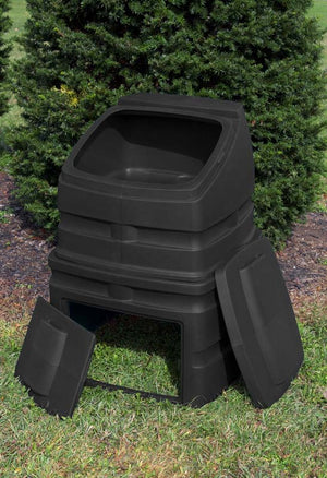 Compost Wizard Standing Bin with 12 cubic foot capacity open in yard