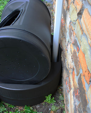 Compost Wizard Hybrid under downspout
