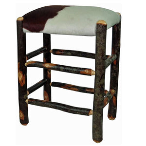 "24"" Hickory Backless Bar Stool - Genuine Cow Hide"