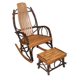 Amish Bentwood Rocker & Foot Stool - Hickory & Oak
