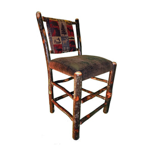 "24"" Hickory Bar Stool w/Upholstered Back & Seat"