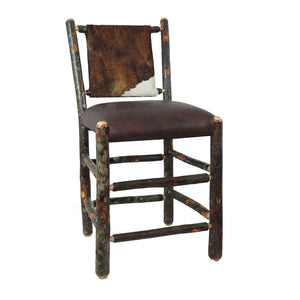 "24"" Hickory Bar Stool w/Upholstered Back & Seat - Cow Hide / Distressed Genuine Leather"