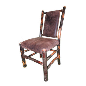 Rustic Hickory Dining Chair w/Upholstered Back & Seat