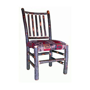 Rustic Hickory Dining Chair w/Spindle Back & Upholstered Seat