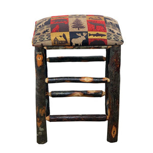 Hickory Backless Bar Stool w/ Changeable Fabric Seat