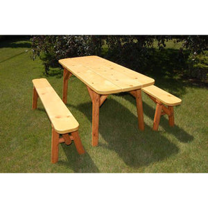 7' Oval Edge Picnic Table w/ Detached Benches
