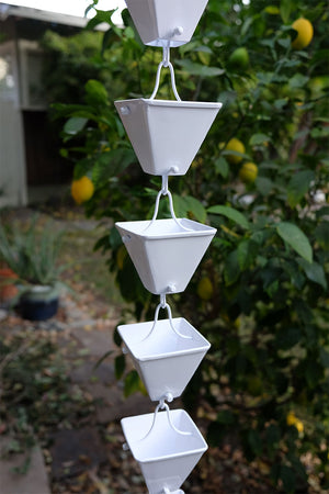 White Medium Square Cups Rain Chain hung in backyard