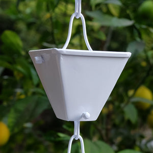 White Medium Square Cups Rain Chain