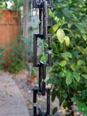 Black Rectangle Links Rain Chain with flowing rain water