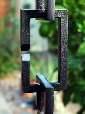 Up close image of Black Rectangle Links Rain Chain
