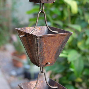 Aged Medium Square Cups Rain Chain
