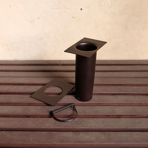bronze long installation kit showing D-clip and additional sleeve detached