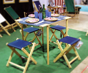 The portable wooden Roll Top Table with picnic setup