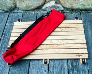 wooden landing pad unfolded with convenient carry bag