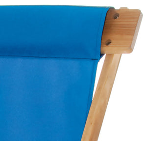 The Sling Recliner in atlantic blue close up image