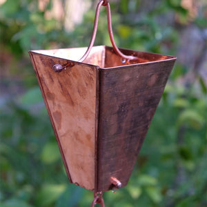 Large Tapered Cup style rain chain in Copper