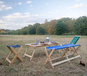 Foldable Voyager Bench in atlantic blueused at picnic