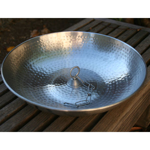 Hand Hammered Aluminum Dish with Loop for securing rain chain to the ground