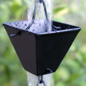 Medium Square Cups Black Rain Chain with water flowing through cup