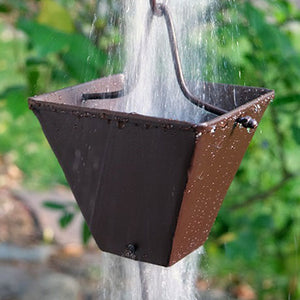 Extra Large Bronze Square Cups Rain Chain with water flowing through cup