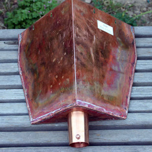 Corner copper Leaderhead for Rain Chains