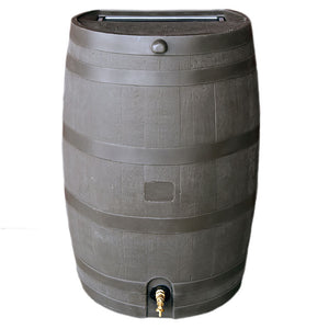 50 Gallon Wood Grain Rain Barrel with Flat Back