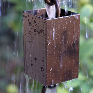 Square Kenchiku Aluminum Bronze Rain Chain with water running through cup
