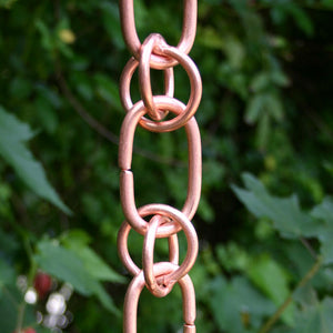 Close up image of Link & Loop Copper Rain Chain