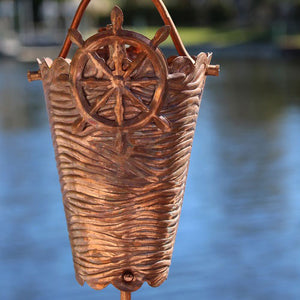 Nautical Cups Copper Rain Chain with ships wheel accent
