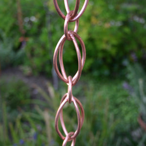 Close up image of Oval Loop Copper Rain Chain