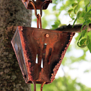 Aged copper Slotted Square Cups Rain Chain