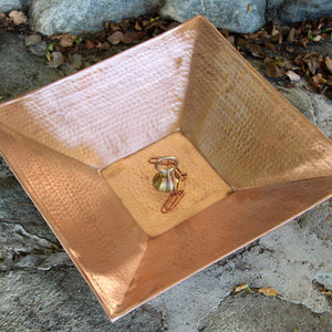 "16"" Square Hammered Copper Dish with Loop for securing rain chain to the ground"