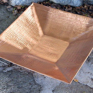 "16"" Square Hammered Copper Dish"