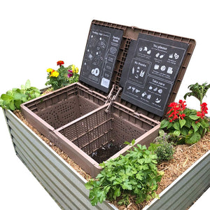 Subpod composter in raised garden bed