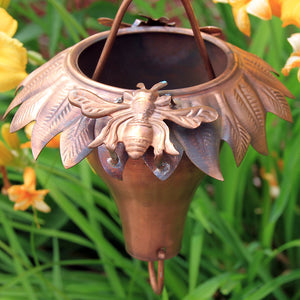 Sunflower Copper Rain Chain with bee accent