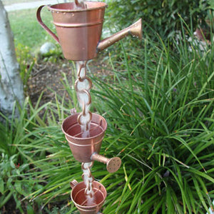 Watering Can copper Cups Rain Chain with water flowing through watering can shaped cups