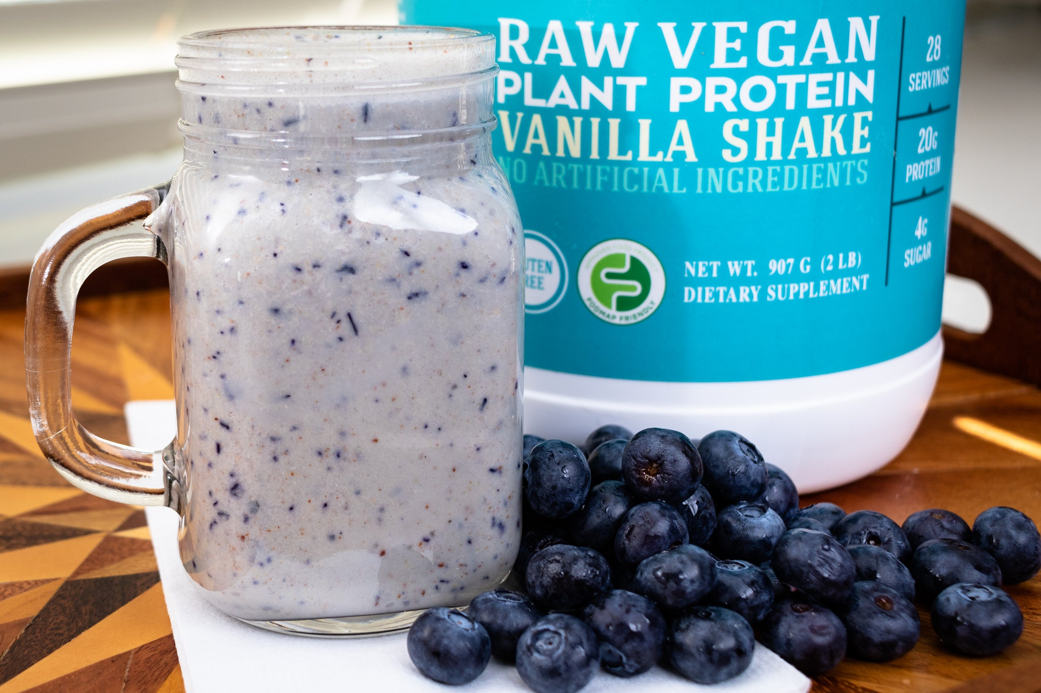 Raw Vegan Blueberry Ginger Protein Shake