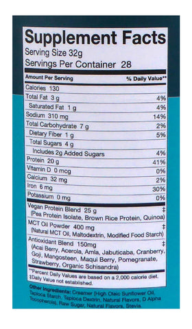 Stellar Labs Nutrition - Raw Vegan Vanilla Shake Label