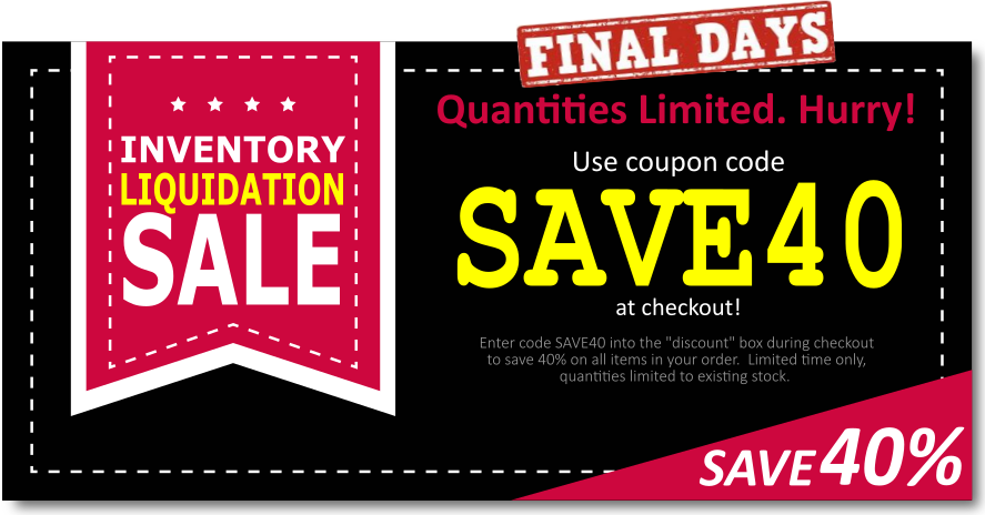 Save 40% OFF your entire order by entering coupon code SAVE40 during checkout!