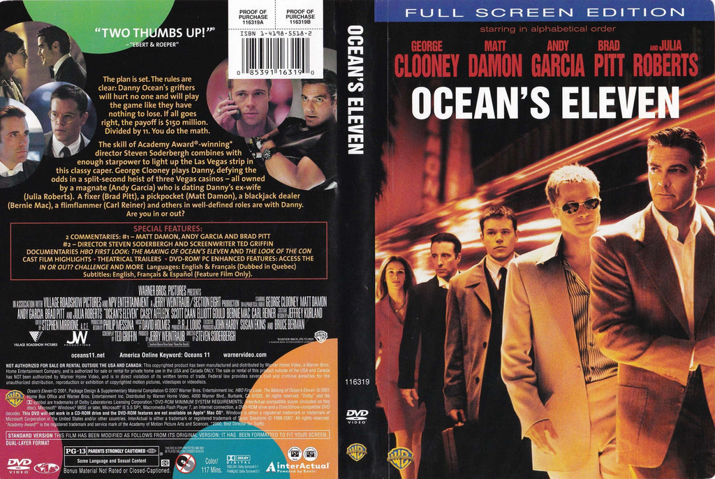 DVD - Ocean's Eleven (Fullscreen) - Used,Fullscreen,The CD Exchange
