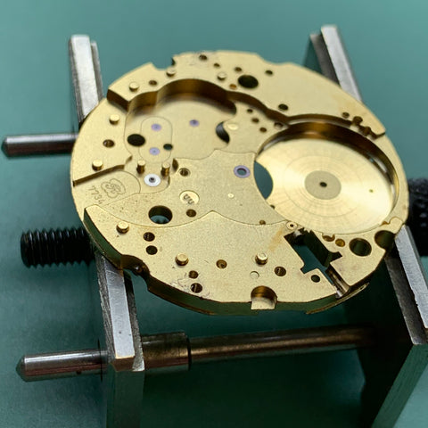 Servicing a Tissot 1853 Moonphase chronograph from 1983 caliber 7734 - overcoming the botch