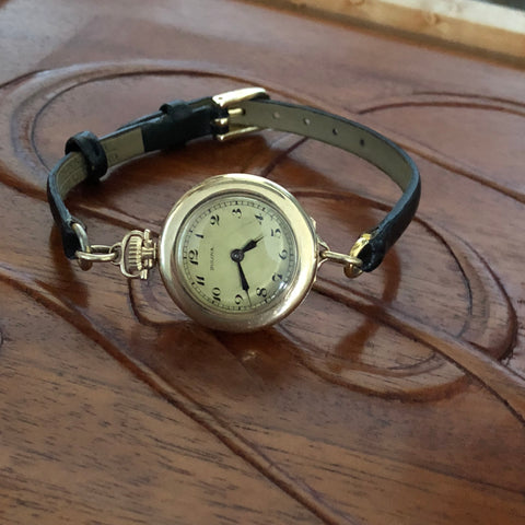 Bulova 1926 Transitional Women's Pocket Watch on Leather Strap Fully Serviced by ClockSavant